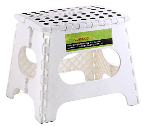"Greenco Super Strong Foldable Step Stool for Adults and Kids, 11"", White"
