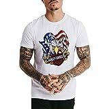 iSovze Men's Short Sleeve - Independence Day Fashion Printing T-Shirt 【White-4,US-XL  CN-2XL(50~52)】