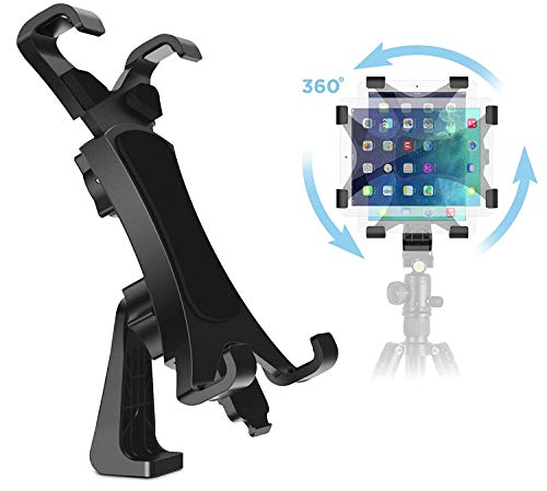 IPOW 360 Degree Rotatable Break-Resistant iPad Tripod Mount Adapter, Universal Tablet Clamp Holder Fits Ipad Air, Pro, Mini, Microsoft Surface, Nexus, for Tripod Monopod, Selfie Stick,Tabletop Stand