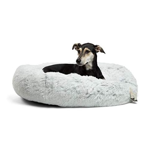 Best-Friends-by-Sheri-Luxury-Shag-Fur-Donut-Cuddler-36x36-Zippered-Frost--Medium-Round-Cat-and-Dog-Cushion-Bed-Removable-Shell-Warming-Cozy-Prime-Machine-Washable--Dogs-up-to-100lbs