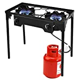 Giantex 2 Burner Outdoor Camping Stove High Pressure Burner Stand 150,000 BTU with 0-20 PSI Adjustable Regulator Outdoor Camping Picnic Stove, Black