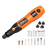 TACKLIFE Cordless Rotary Tool 3.7V Li-on Three-Speed with 31-Piece Rotary Accessory Kit, USB Charging Cable, Collet Size 3/32-inch(2.3mm) - Perfect for Small Light Jobs-PCG01B