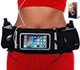 Runtasty [Voted #1 Hydration Belt] Winners' Running Fuel Belt; Includes Accessories - 2 BPA Free Water Bottles & Runners Ebook; Fits Any iPhone; w/Touchscreen Cover; No Bounce Fit; 100% Guarantee!