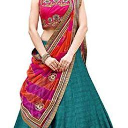 Florence Women's silk Lehenga Choli (LG-Pramukh-RozaFirozi_ Firozi_ One Size)
