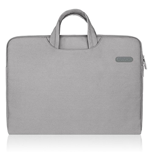 Arvok 15 15.6 16 Inch Water-resistant Canvas Fabric Laptop Sleeve With Handle & Zipper Pocket/Notebook Computer Case/Ultrabook Tablet Briefcase Carrying Bag/Pouch Skin Cover For Acer/Asus/Dell/HP,Gray