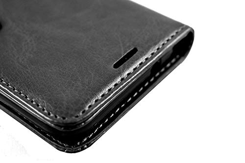 Qlez Full Leather Flip Cover with Unbreakable Glass for Xiaomi Redmi Note 5/ Mi Note 5 |Inner TPU | Foldable Stand | Wallet Card Slots - Smooth Black 8