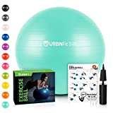 URBNFit Exercise Ball (Multiple Sizes) for Fitness, Stability, Balance & Yoga - Workout Guide & Quick Pump Included - Anti Burst Professional Quality Design (Teal, 65CM)