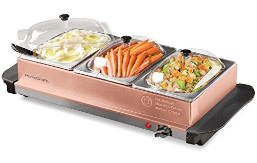 HomeCraft BSC15 3-Station 1.5-Quart Buffet Server Warming Tray, Copper