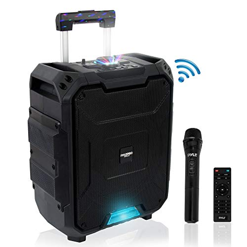 Portable Active PA Speaker System - 700W Wireless Bluetooth Compatible Battery Powered Rechargeable Outdoor Sound Speaker Karaoke Microphone Set w/ MP3 USB FM Radio AUX, DJ LED Lights - Pyle PWMDJ88BT