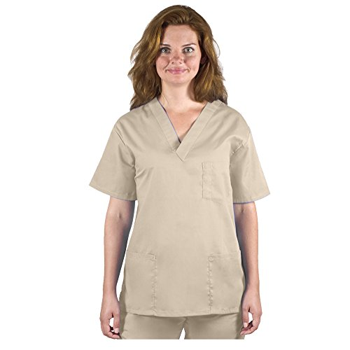 98.6 Unisex Medical Nursing V-Neck Top S Khaki