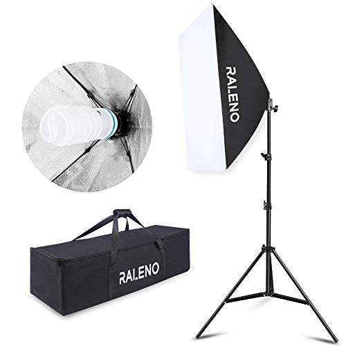 "RALENO Softbox 20""x28"" Photography Lighting Professional Photo Studio Equipment with 85W E27 Socket 5500K Video Light Bulb for Filming Portraits Shoot"