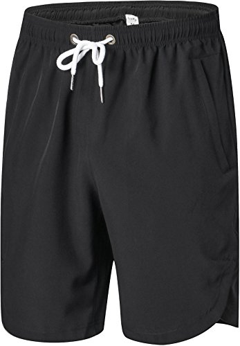 Mens Shorts - Quick Dry Stretchable Athletic Shorts for Running, Training, Workout – Swim Trunks for Watersports Swimming (L, Black)