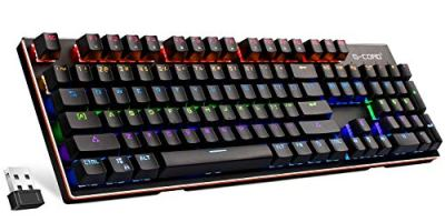 G-Cord Wireless Mechanical Full Size Keyboard with LED Backlit, 2.4G Connection