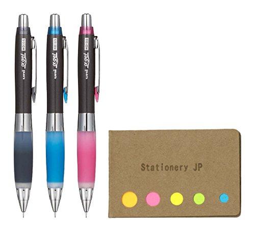 Uni Alpha Gel Shaker Mechanical Pencil Hard Grip Model 0.5 mm, 3 Color Body (Black/Royal Blue/Rose Pink), Sticky Notes Value Set