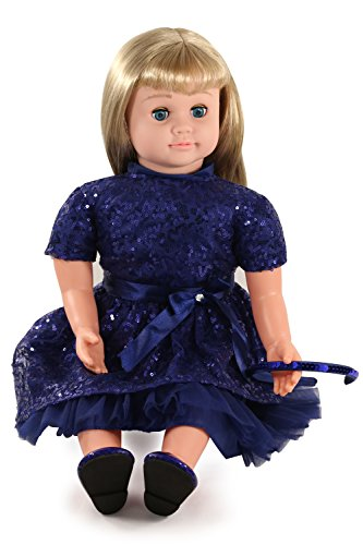 Ask Amy 22' Talking Interactive Singing Storytelling Smart Educational Doll Blond Blue Sparkles Dress