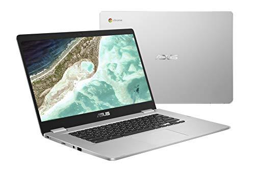 ASUS Chromebook C523NA-DH02 15.6' HD NanoEdge Display, 180 Degree, Intel Dual Core Celeron Processor, 4GB RAM, 32GB eMMC Storage, Silver Color