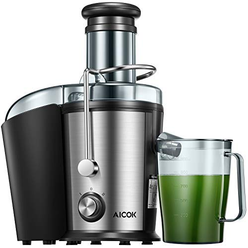 Juicer Machine, Aicok Juice Extractor, 800W Centrifugal Juicer with 3'' Wide Mouth, Dual Speed Stainless Steel Juicer with Anti-drip Mouth, Non-slip feet, BPA Free