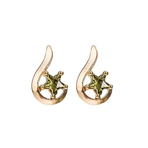 YAZILIND Simple Estrella Elegante Zircon Pendientes hipoalergénicos Chapado en Oro para Mujeres...