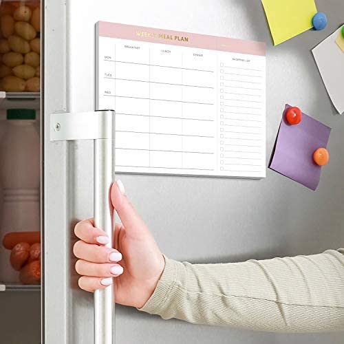 """Sweetzer & Orange Weekly Meal Planner and Grocery List Magnetic Notepad. Pink 10x7"""" Meal Planning Pad with Tear Off Shopping List. Plan Weekly Menu Food for Weight Loss or Dinner List for Family! 3"""