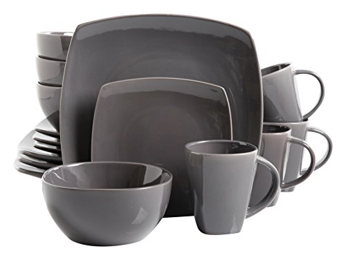 Gibson Home 16 Piece Soho Lounge Soft Square Dinnerware Set with Reactive Glaze Stoneware, Grey