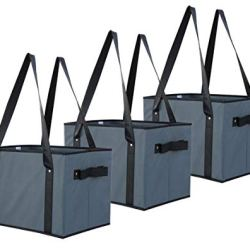 Earthwise Deluxe Collapsible Reusable Shopping Box Grocery Bag Set with Reinforced Bottom Storage Boxes Bins Cubes (Set of 3) (Grey)