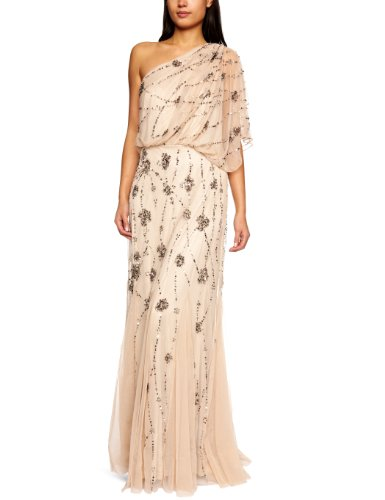 41NQhjqVyVL Long gown with draped blouson bodice featuring one-shoulder neckline and allover floral beading Godet-pleated skirt Short-sleeve one-shoulder long dress