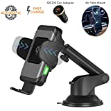 Wefunix Wireless Car Charger-One Hand Operation, Auto Clamping Qi 10W/7.5W Fast Wireless Charging Car Mount Compatible with iPhone Xs Max/XR/X/8Plus/Samsung S10/S9+/S8/S7/Note9/8[Car Charger Included]