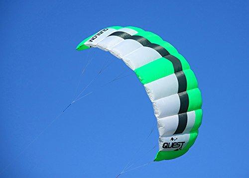 Qunlon 2 Sqm Q2 Green Power Dual Line Parachute Kite / Single Kite with Line and Wrist Strap
