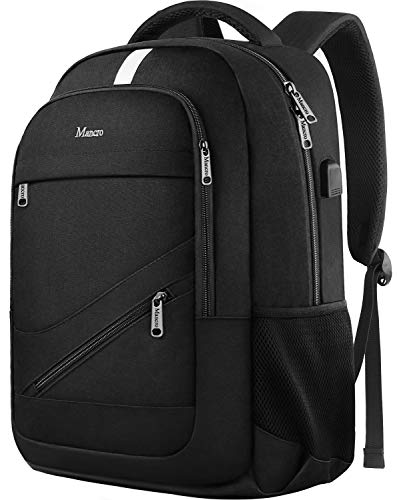 Travel Laptop Backpack, Anti Theft Durable College School Bookbags with USB Charging Port, RFID Water Resistant Slim Business Computer Bag for Women Men Fits 15.6 Inch Laptop and Notebook, Black