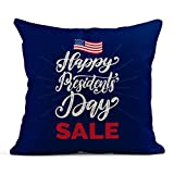 Tarolo Throw Pillow Covers Red Badge Happy Presidents Day Sale Phrase in National American Holiday USA Flag on Blue Festive Celebration Linen Cushion Cases Home Decorative Pillowcases 18 x 18 inches