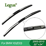 Wipers Hukcus car winscreen Wiper blades for BMW X5(E53)(2003-2010),22'+24',3 Section Rubber, windshield, wiper rubber - (CN, Item Length: Simple packing)