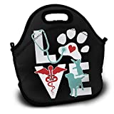 Stylish Love Cat and Dog Veterinary Lunch Bag Tote Soft Lunch Box Reusable Insulated Handbag for Men,Women,Kids
