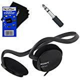 Sony Behind-The-Neck Stereo Headphones with Powerful Bass + 3.5mm Mini Plug to 1/4' inch Headphone Adapter & HeroFiber Ultra Gentle Cleaning Cloth