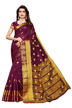 Anni Designer Women's  Chanderi Silk Jacquard Butta Saree With Blouse Piece