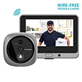 LaView Wireless Video Doorbell, Wi-Fi Door Bell Camera, Peephole Camera with LED Touch Screen, Wire-Free/Rechargeable Battery/Night Vision/Two-Way Audio/Mobile View