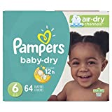 Diapers Size 6, 64 Count - Pampers Baby Dry Disposable Baby Diapers, Super Pack (Packaging May Vary)