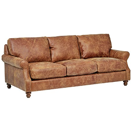 Stone & Beam Charles Classic Oversized Leather Sofa, 92'W, Saddle Brown