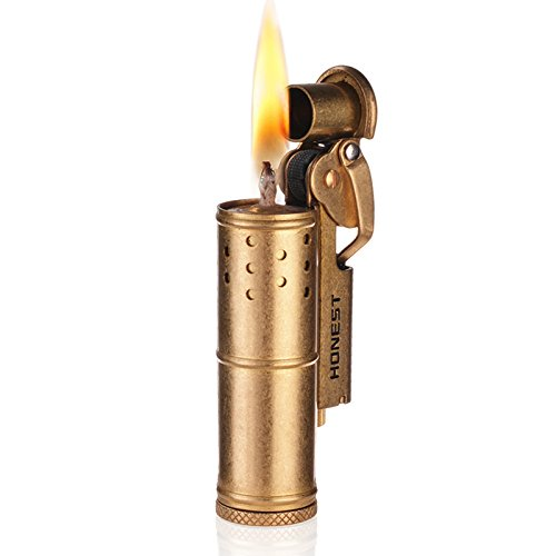 Wheel Kerosene Lighter,Trench Lighter Vintage Fine Copper Windproof Creative Personality Brass Lighter For Collection/Decorative/Gift/Present(Copper)