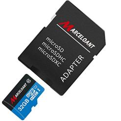 41No hz6T7L - TF Card 32GB, Marceloant Micro SD Memory Cards Class 10 microSDHC UHS-I Card with Adapter, Black/Blue, Standard Packaging (32GB TF Card)