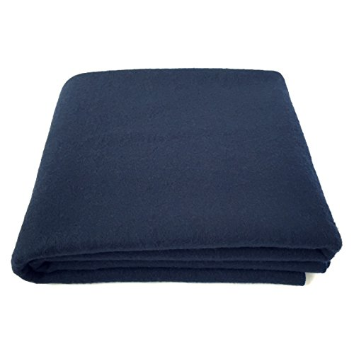 EKTOS 100% Wool Blanket, Navy Blue, Warm & Heavy 5.5 lbs, Large Washable 66'x90' Size, Perfect for Outdoor Camping, Survival & Emergency Preparedness Use