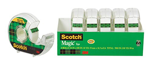 Scotch Brand Magic Tape, Versatile, Cuts Cleanly, Designed for Office and Home Use, 3/4 x 650 Inches, 6 Dispensered Rolls (6122)