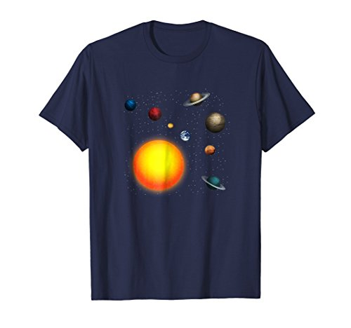 Mens Solar System Planets T shirt Sun and Stars Astronomy T shirt Large Navy