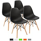 Furmax Pre Assembled Modern Style Dining Chair Mid Century Modern DSW Chair, Shell Lounge Plastic Chair for Kitchen, Dining, Bedroom, Living Room Side Chairs Set of 4 (Black)