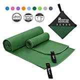 Relefree 2 Size Microfiber Towels, Sports & Travel Towel Sets - Fast Drying, Super Ultra Absorbent, and Compact Suitable for Camping, Backpacking, Hiking, Beach, Gym, Swimming, Yoga