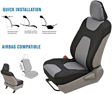 Motor Trend AquaShield Car Seat Covers for Front Seats, Gray – 3 Layer Waterproof Seat Covers, Neoprene Material with Modern Sideless Design, Universal Fit for Auto Truck Van SUV 12