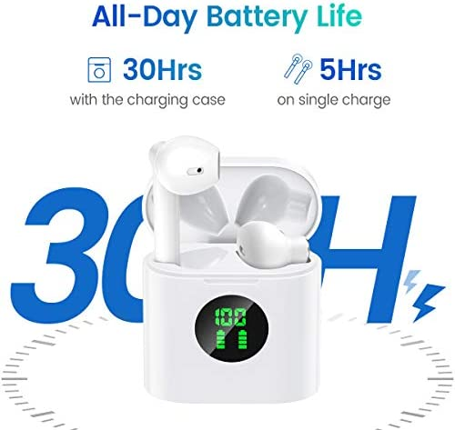 MIFA True Wireless Earbuds, TWS Bluetooth Headphones Stereo Sound Earphones, 30H Playtime Wireless Charging Case & Power Display, Sweat Proof Dual Bluetooth 5.0 Headset with Built-in Mic for Sports 15