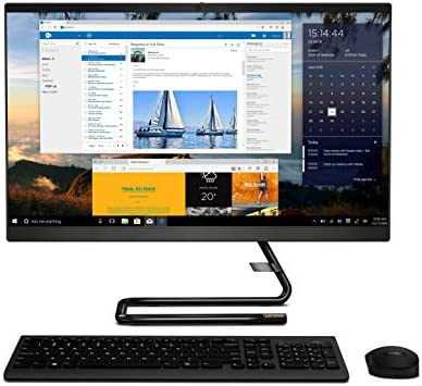 """Lenovo IdeaCentre A340 23.8"""" FHD IPS All-in-One Desktop (10th Gen Intel Core i5/8GB/1TB HDD+256GB SSD/Win 10/Office/with Slim DVD±RW/HD 720p Camera/Wireless Keyboard & Mouse) Business Black F0E800SSIN"""