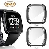 2 Pack Screen Protector Case for Fitbit Versa, Haojavo Soft TPU Slim Fit Full Cover Screen Protector Case for Fitbit Versa Smartwatch Bands Accessories