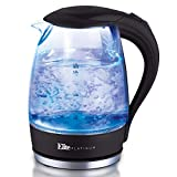 Elite Platinum EKT-300 Glass Electric Tea Kettle Hot Water Heater Boiler BPA Free with LED Indicator, Fast Boil and Auto Shut-Off, 1.7L, Black