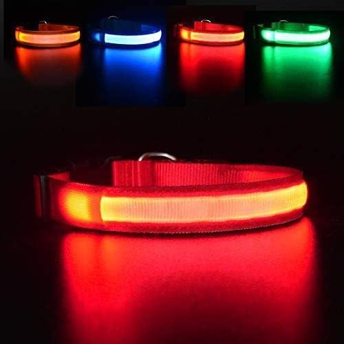 MASBRILL Collar Luminoso Perro de Mascota, 3 Modos Collar Perro Luz con Recargable y Impermeable, Ajustable Collares LED para Perros Pequeños/Medianos/Grandes(Rojo L)